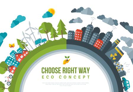 친환경, 녹색 에너지 개념 프레임입니다. 벡터 평면 그림입니다. 태양 에너지 타운, 바람 에너지. 더러운 도시 - 공장, 대기 오염, 매립. 원자력 발전소.