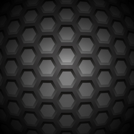 nanotube: Abstract Carbon Nanostructure. Vector illustration. Hexagonal Pieces. Monochrome Molecular Scientific Background.