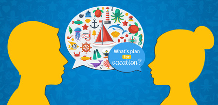 yachting: Man and Woman Conversation about Summer Vacation. Flat design Vector illustration. Marine Symbols in Speech Bubble, Sea Leisure Sport, Yachting. Holiday Planning. Illustration