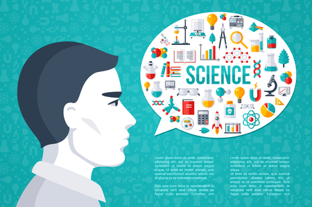 science scientific: Male Scientist with Speech Bubble Science and Laboratory Research Icons. Place for Your Text. Flat design Vector illustration. Scientific Concept for Web Banners and promotional materials.