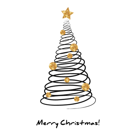 gold tree: Fir Tree in Doodle Style with Golden Glittering Decorations - Star and Balls. Vector illustration. Messy Spiral Line on White Background. Happy New Year and Christmas Poster Invitation Template.