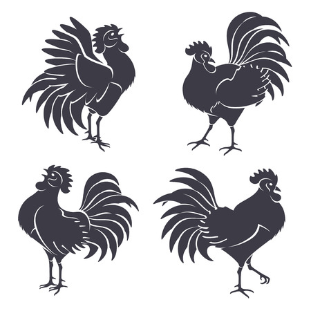 cock: Black Rooster Silhouettes Isolated on White. Vector illustration. Symbols of 2017 Chinese New Year. Crowing Cock.