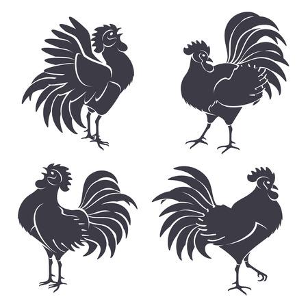 animal cock: Sagome nere Gallo isolato su bianco. Illustrazione vettoriale. Simboli del 2017 Capodanno cinese. Canto del gallo. Vettoriali