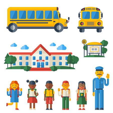 Volver a la Escuela de conjunto de iconos. Ilustración vectorial Plano Estilo. Edificio de la universidad, autobús amarillo, el conductor y Linda niños Caracteres. Ilustración de vector