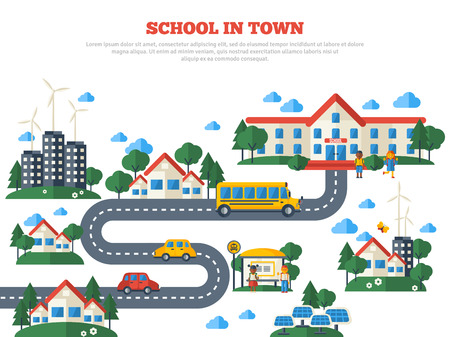 learners: Road to School in Town Isolated on White Background. Vector Illustration. Education Concept with Flat Icons. Buildings, Yellow Bus and Kids. Illustration
