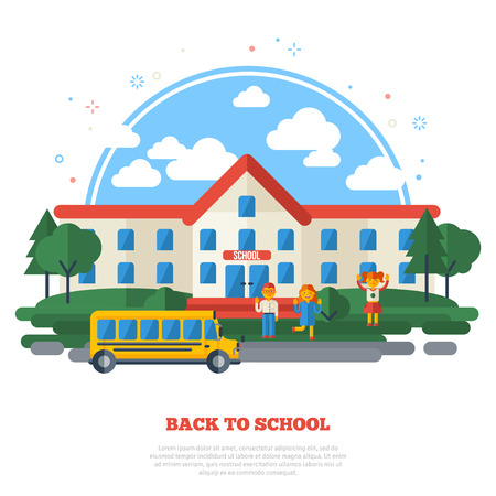 school illustration: School Building, Yellow Bus on Road and Funny Kids in the Yard. Education Flat Style Concept Isolated on White. Vector Illustration.
