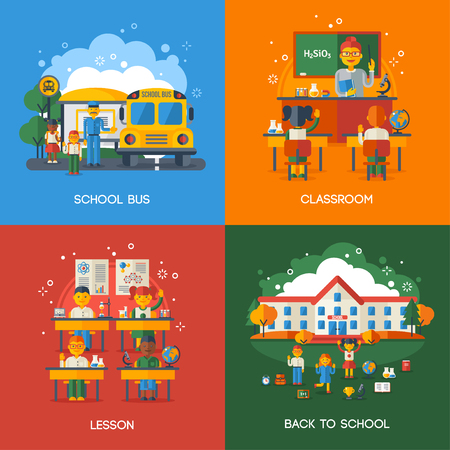 school classroom: Back to School Flat Style Concept Set. Vector Illustration. Bus Stop, Classroom and Lesson, Teacher with Pupils. Funny Kids Characters Illustration