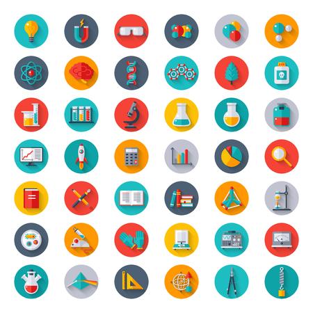 Física, Química, Biología, Laboratorio y Ciencia Equipo iconos en círculos. Diseño plano Ilustración del vector. Los guantes de látex, moléculas, análisis de datos, la investigación científica, experimento químico.