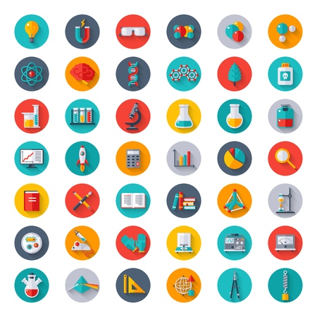 analytical chemistry: Physics, Chemistry, Biology, Laboratory and Science Equipment Icons Set in Circles. Flat design Vector illustration. Latex Gloves, Molecules, Data Analysis, Scientific Research, Chemical Experiment.