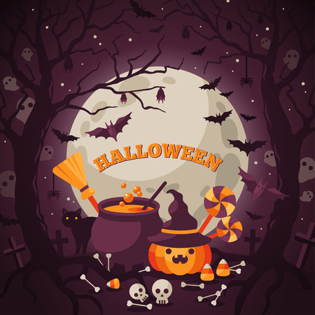 spooky forest: Halloween Background with Orange Pumpkin and Cauldron. Vector Flat Illustration. Full Moon Night in Spooky Forest. Illustration