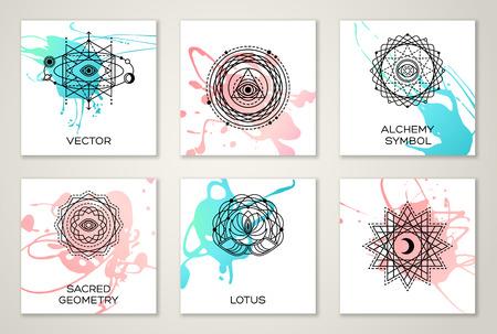 Set van kaarten met Heilige Geometrie Vormen op aquarel vlekken. Eye, Maan en Sun. Vector illustratie. Geometrische Logo Design, Spirograph Lines. Alchemy Symbol, occulte en Mystic Sign. Stock Illustratie