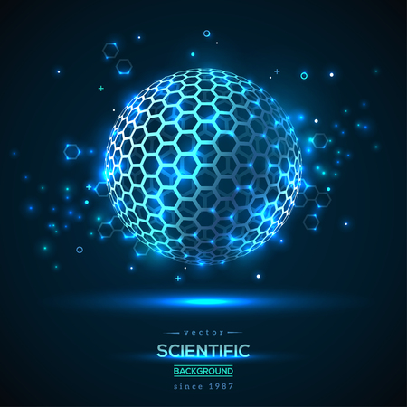 Abstract Geometric Particle like Fullerene. Technology Concept Background with Glowing Particles. Scientific Future Backdrop with Wireframe Sphere. Vector Illustration.