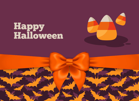 candy corn: Halloween Postcard Design with Orange Silky Bow Ribbon and Bats Pattern. Vector Illustration. Candy Corn Traditional Sweets. Illustration
