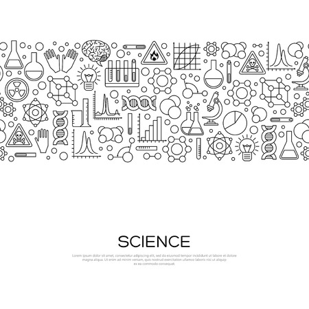 experiments: Seamless Border with Science Black Line Icons in Modern Style. Vector Illustration. Scientific Research Banner with Chemical Experiment Tools. Concept for web banners and promotional materials.