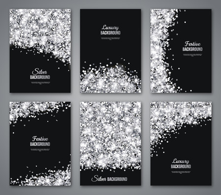 silver frame: Set of Black and Silver Banners, Greeting Card or Flyers Design. Shiny Dust. Vector Illustration. Happy New Year and Christmas Posters Invitation Template. Place for your Text Message.