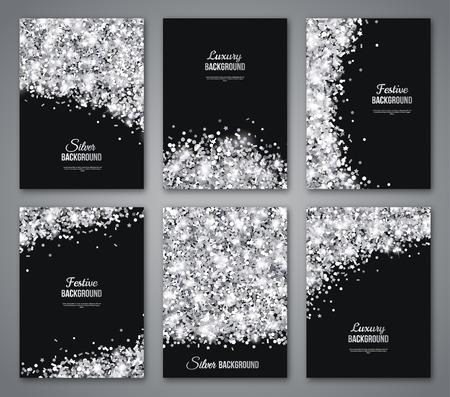 Zestaw czarny i srebrny Banery, pozdrowienia karty lub Flyers Design. Błyszczący pył. Ilustracja wektora. Szczęśliwego Nowego Roku i Bożego Narodzenia Plakaty Szablon zaproszenie. Miejsce na wiadomość tekstową.