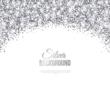 Greeting Card Silver Confetti Glitter Arch. ilustracji wektorowych. Cekiny Wzór. Światła i błyskotki. Świecące wakacje Uroczysty plakatu. Karta podarunkowa, projektowanie Voucher