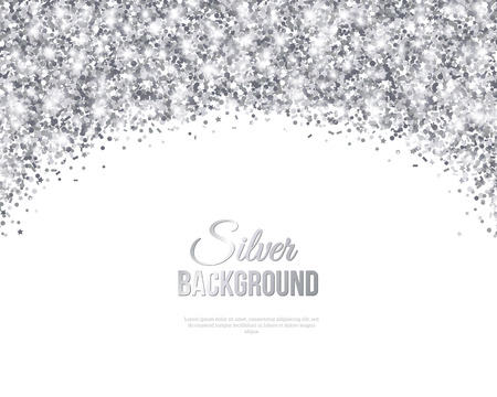 Tarjeta de felicitación de plata con confeti del brillo del arco. Ilustración del vector. Patrón lentejuelas. Luces y chispas. Resplandeciente festivo del cartel. De tarjetas de regalo, vale Diseño