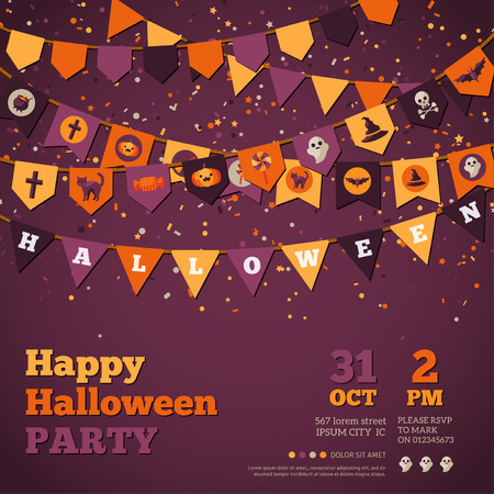 holiday garland: Halloween Background with Garland Decorations. Vector Illustration. Flags in Traditional Colors with Holiday Symbols. Falling Colorful Confetti. Illustration