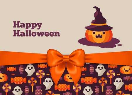 Halloween Postcard Design with Orange Silky Bow Ribbon and Pattern. Vector Illustration. Pumpkin in Witch Hat Cute Character. Illustration