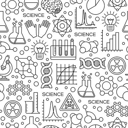 モダンなスタイルの科学線アイコンとのシームレスなパターン。ベクトルの図。化学実験ツールと科学的研究の背景。