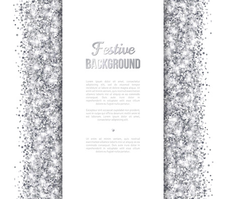 White and Silver Banner, Greeting Card Design. Shiny Dust. Vector illustration. Sequins Pattern. Lights and Sparkles. Glowing Holiday Festive Poster. Gift Card, Voucher Design