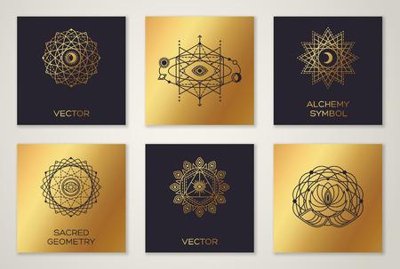 신성한 기하학의 집합 최소한의 기하학적 모양. 검은 색과 금색 유행 hipster 아이콘 및 로고, 연금술 기호, 신비로운 신비한 기호. 눈, 달, 태양이있는 형 일러스트