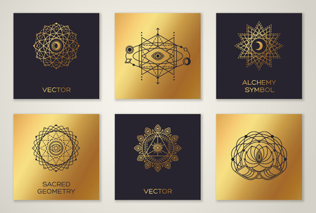 occult: Set of Sacred Geometry Minimal Geometric Shapes. Black and Gold Color Trendy Hipster Icons and Logo, Alchemy Symbol, Occult and Mystic Sign. Forms with Eye, Moon and Sun Illustration
