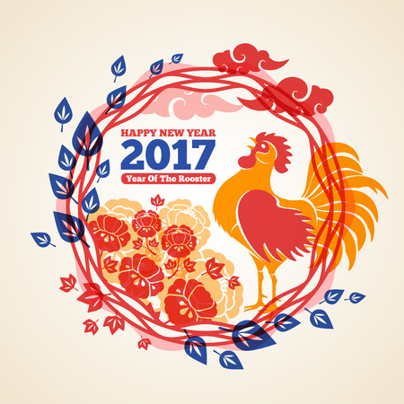 Chinese 2017 New Year Creative Concept Frame with Crowing Rooster, Clouds and Peony Flowers. Vector illustration. Season Greetings.
