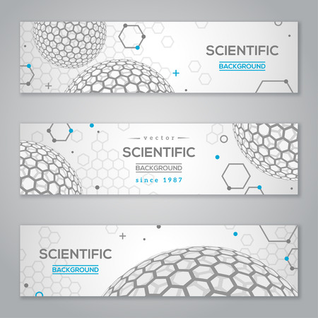 illustration abstract: Horizontal Banners Set with Abstract Molecules Design. Vector illustration. Atoms. Medical Scientific Background. Molecular Structure with Light Spherical Particles like Fullerene