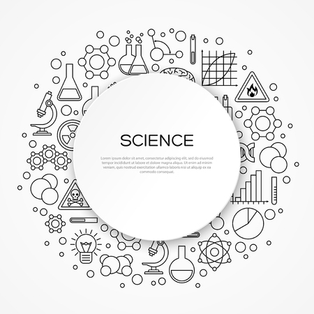 scientific research: Science Education Background with Round Frame and Linear Modern Icons. Vector illustration. Scientific Research, Chemical Experiment Signs Illustration