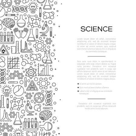 Chemistry Background with Line Icons. Vector illustration. Scientific Research, Chemical Experiment Signs