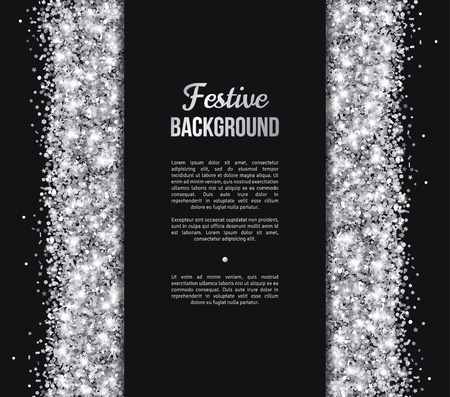 black and silver: Black and Silver Banner, Greeting Card Design. Grey Dust. Vector illustration. Sequins Pattern. Lights and Sparkles. Glowing Holiday Festive Poster. Gift Card, Voucher Design Illustration