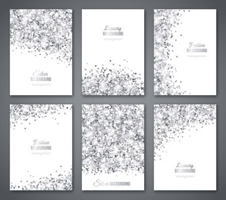 Set di Bandiere Bianche e Argento, Cartolina d'auguri o Flyers Design. Grey Confetti Glitter. Illustrazione vettoriale. Sequins Pattern. Luci e scintille. Festoso poster festivi. Design delle carte regalo Vettoriali