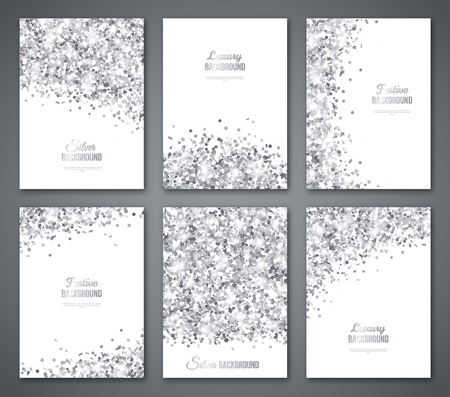 Set of White and Silver Banners, Greeting Card or Flyers Design. Grey Confetti Glitter. Vector illustration. Sequins Pattern. Lights and Sparkles. Glowing Holiday Festive Poster. Gift Cards Design