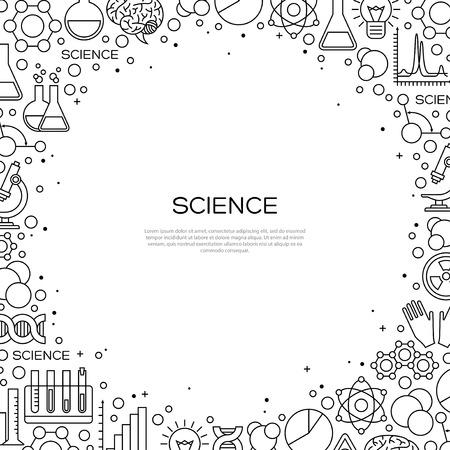 화학 라인 아이콘으로 과학 배경입니다. 현대 스타일의 실험실 연구 크리 에이 티브 배너입니다. 삽화.