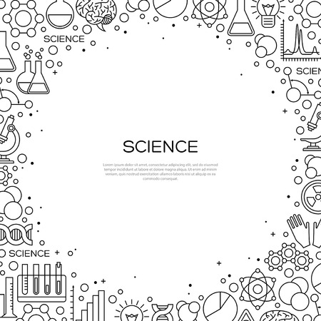 laboratory research: Science Background with Chemistry Line Icons. Laboratory Research Creative Banner in Modern Style. illustration.