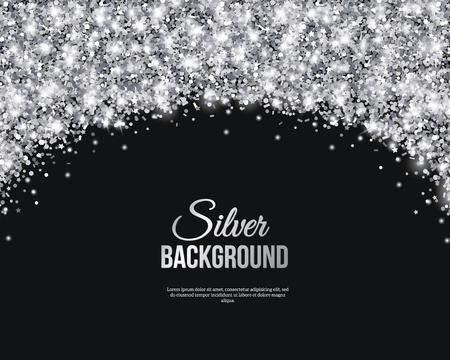 silver: Black and Silver Banner, Greeting Card Design. Grey Dust. Illustration. Happy New Year and Christmas Poster Invitation Template. Place for your Text Message.