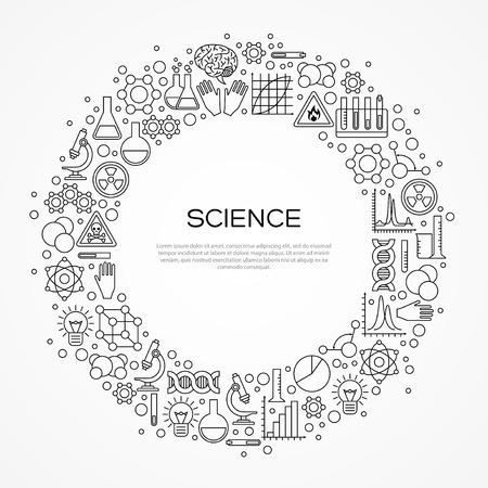Blocco per cerchio con icone della linea scientifica isolato su bianco. illustrazione. Chimica, Science Lab Research Vettoriali