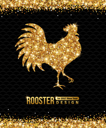 2017 Chinese New Year of the Rooster. Gold Glittering Pattern on Black Background. illustration. Illustration
