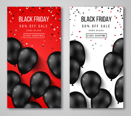 black and red: Black Friday Sale Vertical . Flying Glossy Balloons on White and Red Background. Falling Confetti. illustration.