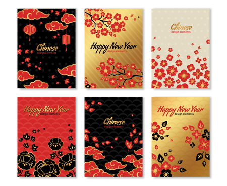 peony black: Set of Chinese New Year . illustration. Asian Clouds, Sakura Flowers in Traditional Red and Gold Colors