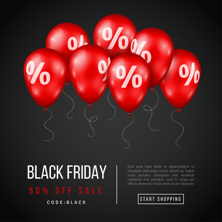 Black Friday Sale Poster with Red Shiny Balloons on Dark Background. Vector illustration. Illustration