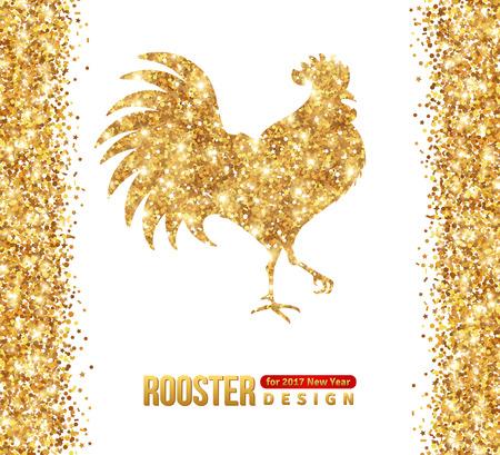 골드 빛나는 닭 실루엣 화이트에 격리입니다. 삽화. 2017 중국 새 해 행복.