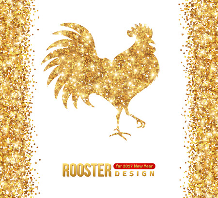 chinese new year decoration: Gold Shining Rooster Silhouette Isolated on White. illustration. Happy 2017 Chinese New Year.