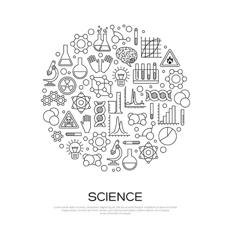 Chemie Linie Icons im Kreis. Illustration. Science Laboratory Forschung Creative Concept.