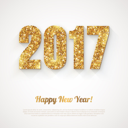 number card: Happy New Year with 2017 Numbers on Bright Background. illustration. Gold Shining Pattern.