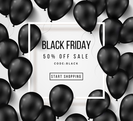 Black Friday Sale Poster with Shiny Balloons on White Background with Square Frame. illustration.