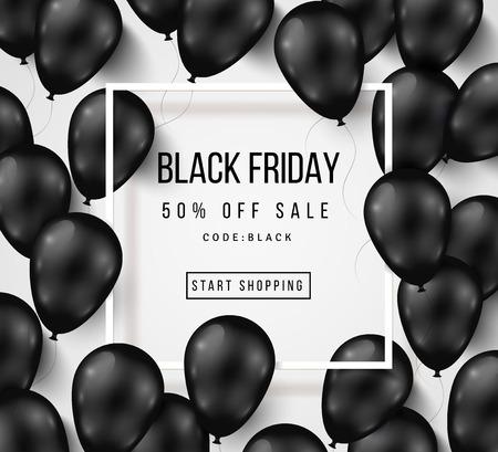 letras negras: Venta negro impresiones viernes con globos brillantes en el fondo blanco con marco cuadrado. ilustración.