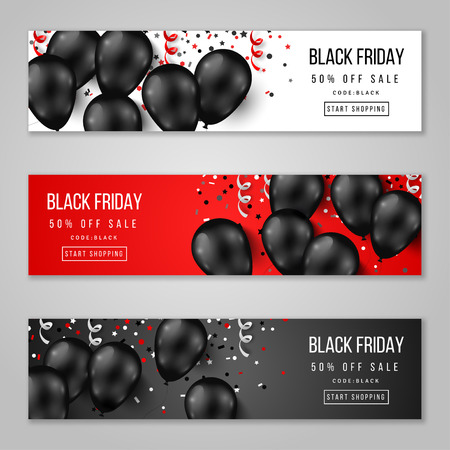 black banner: Black Friday Sale Horizontal Banners Set. Flying Glossy Balloons on White and Red Background. Falling Confetti and Serpentine. illustration.